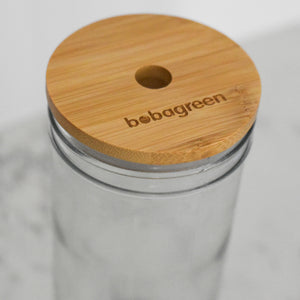 Reusable Boba/Bubble Tea/Smoothie Glass Cup with Bamboo Lid