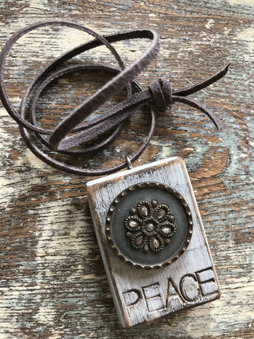 Vintage Button Necklace Peace