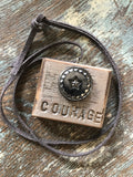 Vintage Button Necklace Courage