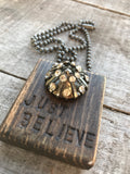 Vintage Button Necklace Just Believe