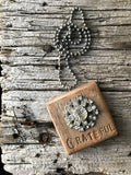 Vintage Button Necklace Grateful
