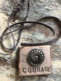 SALE-Vintage Button Necklace Courage