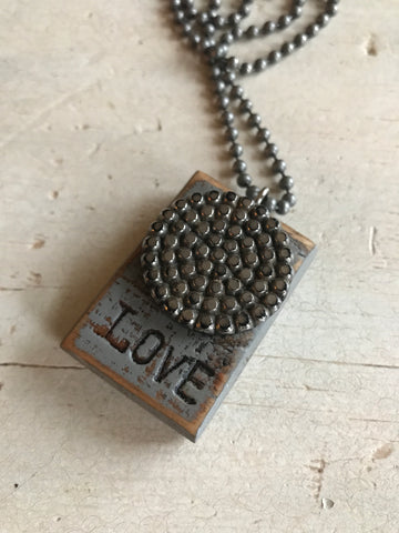 Vintage Button Necklace Love