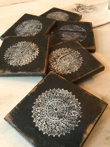Rustic Chic Lace Coasters