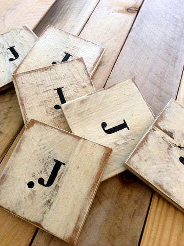 Rustic Reclaimed Wood Monogram Coasters
