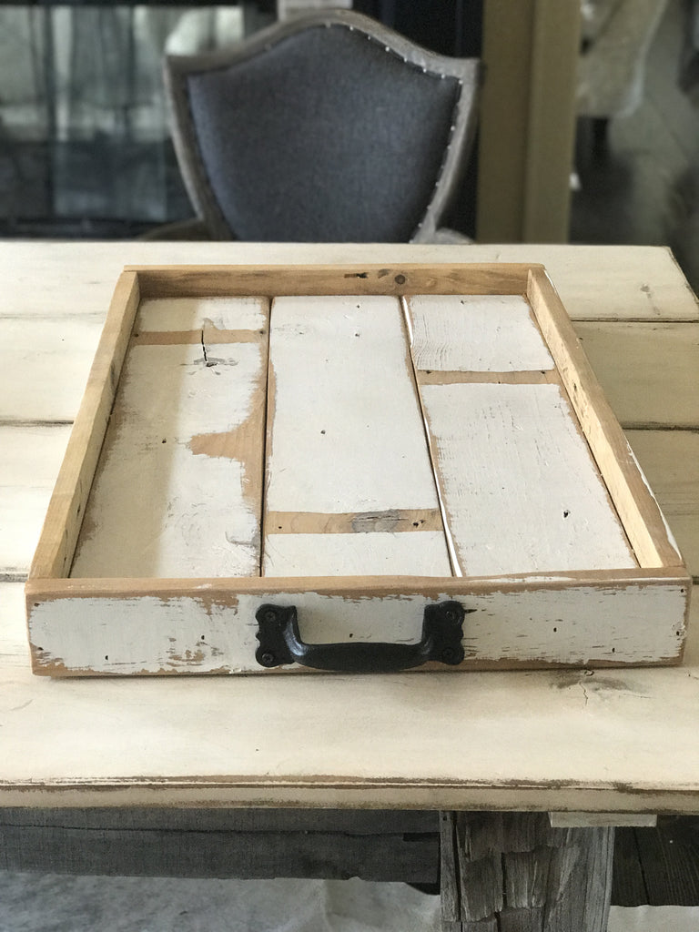 White Reclaimed Wood Serving Tray