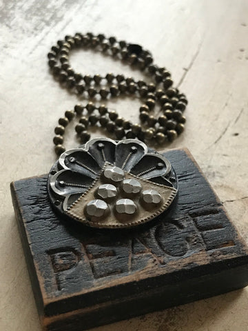 Vintage Peace Button Necklace
