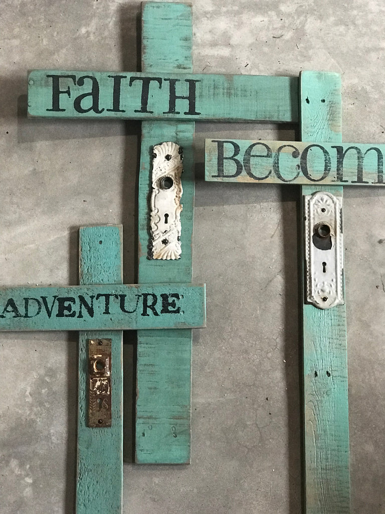 Burly Chic Cross with Vintage Keyplate- Faith