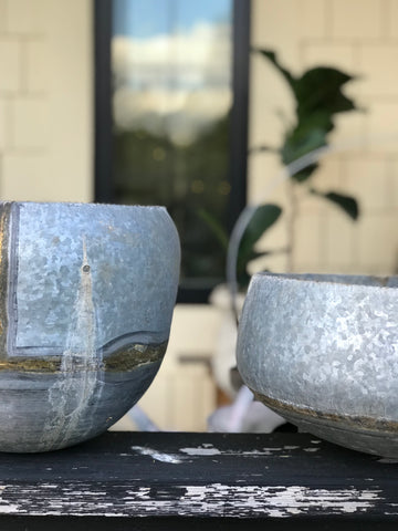 Galvanized Hanging Pots Set/2