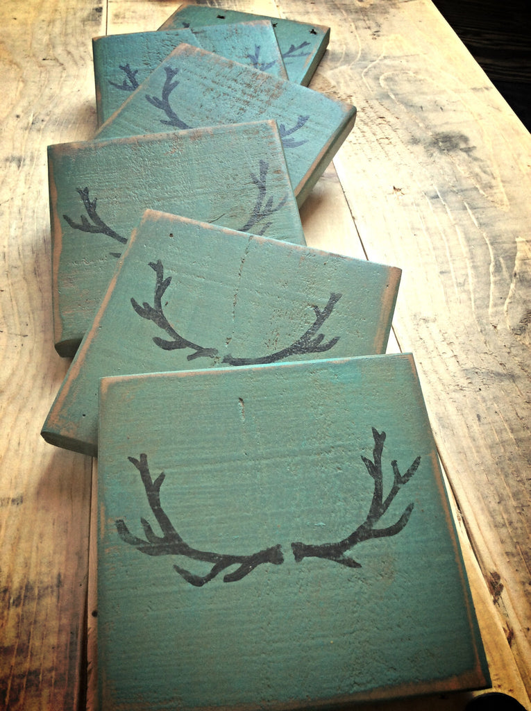 Rustic Antler Wood Coasters