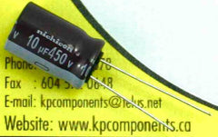 10uF 450V Capacitor 7,000 Hrs@105°C/ UPB2W100MHD - Nichicon - Capacitor - KP Components Inc