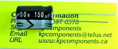 150uF 50V 105°C Radial Electrolytic Capacitor - Gloria - Capacitor - KP Components Inc