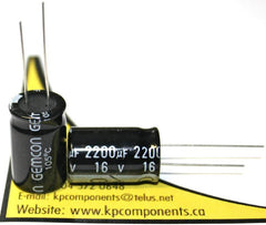 2200uF 16V CAP 105°C Radial/ GHR222M016-1320B - GEMCON - Capacitor - KP Components Inc