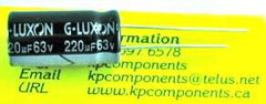 220uF 63V Capacitor 105°C High Temp Radial Leads - G-LUXON - Capacitor - KP Components Inc