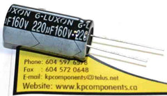 220uf 160V 105C Radial Electrolytic Capacitor 16X32mm - G-LUXON - Capacitor - KP Components Inc