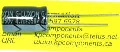 4.7uF 350V Capacitor High Temp Radial - G-LUXON - Capacitor - KP Components Inc
