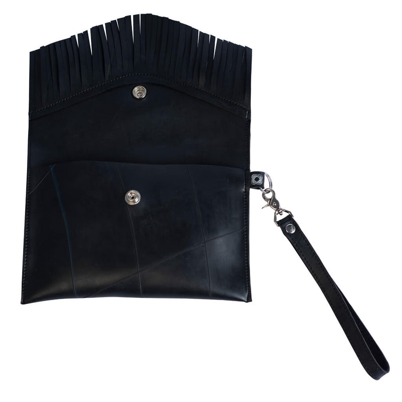 Vegan Leather Fringe Clutch