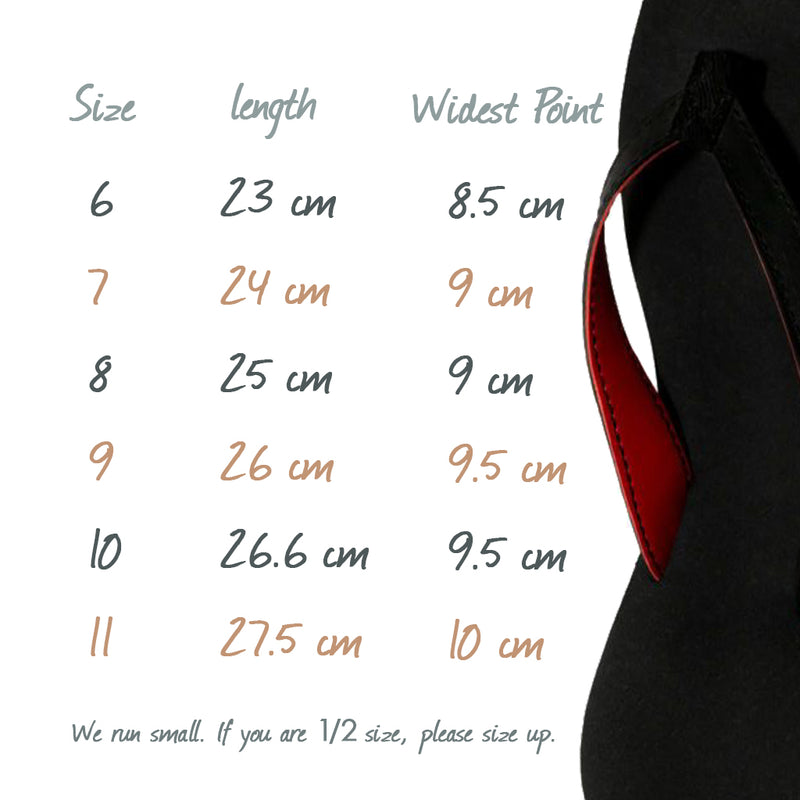 vegan thong sandals size chart