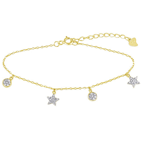 Shaped Gem Charms Bracelet