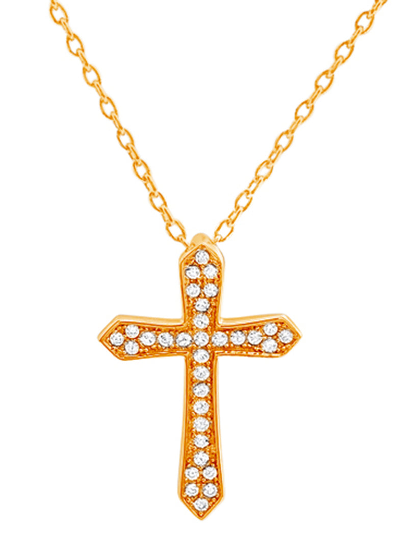 Thick Cross Gem Necklace