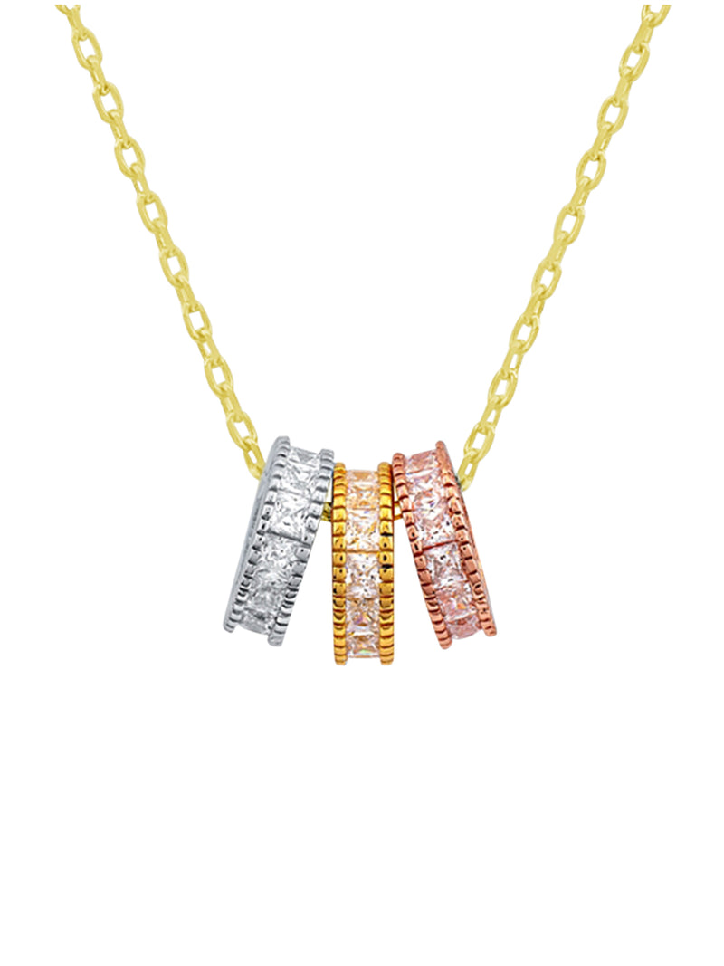 Triple Coloured Ring Necklace