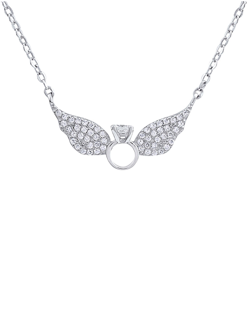 Winged Engagement Ring Necklace