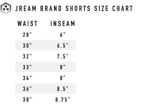 Jream bjj grappler shorts size chart