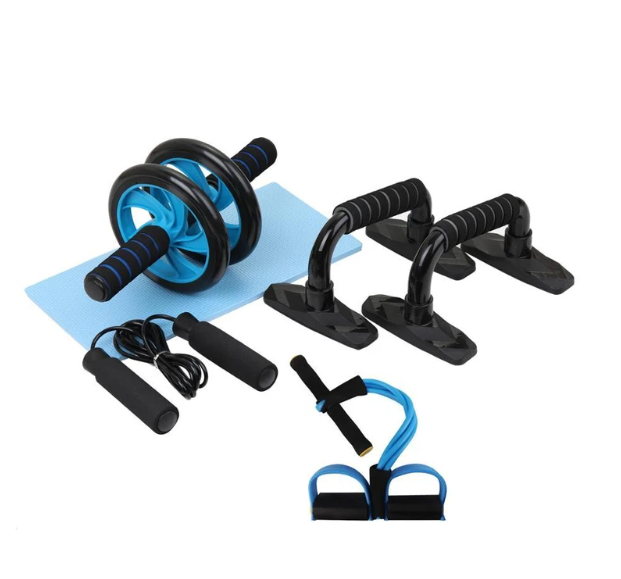 Gym Fitness Equipment 4-in-1 Muscle Trainer Wheel Roller Kit