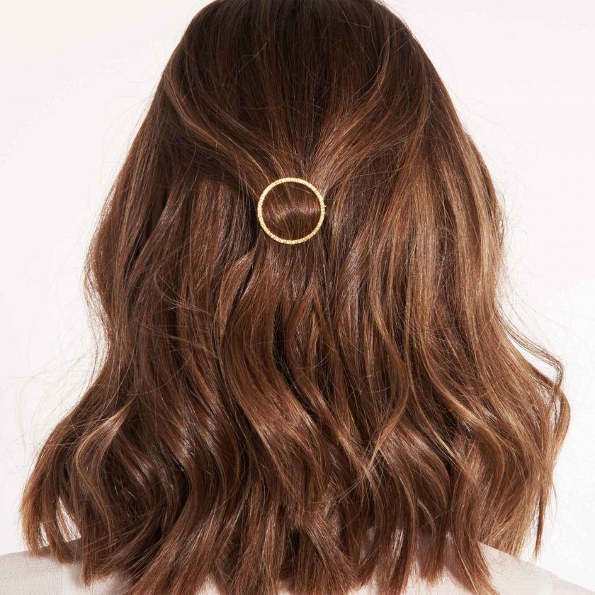 HAIR ACCESSORY PAVE CIRCLE GOLD - HAIR CLIP