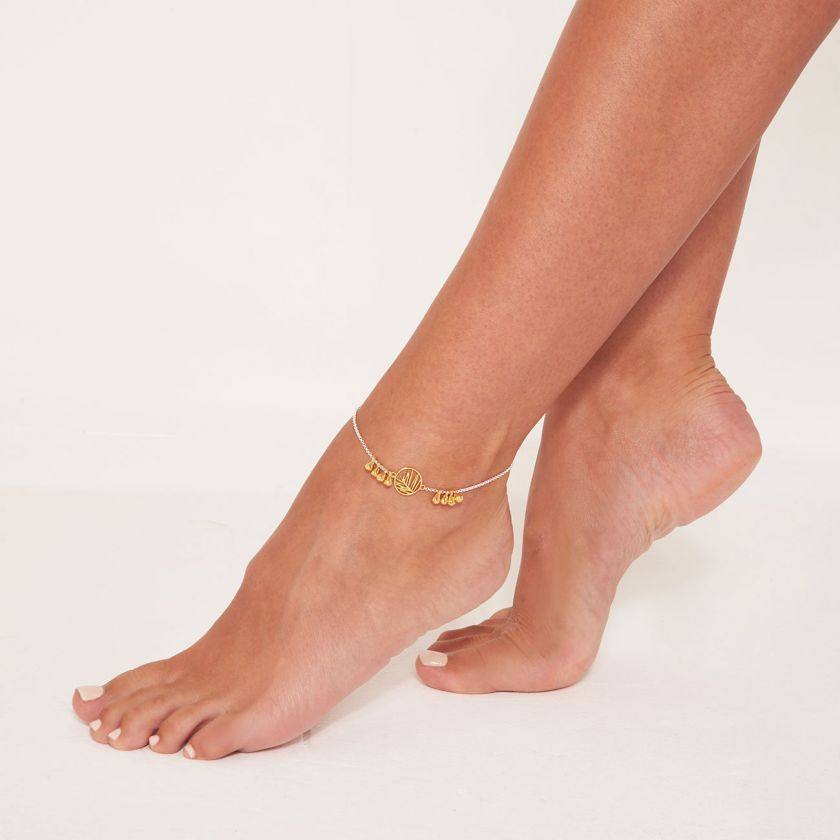 SILVER & GOLD PALM ANKLET