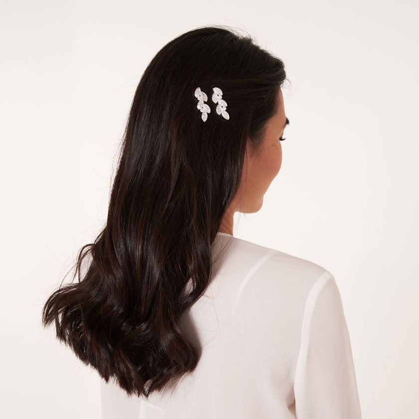 HAPPY EVER AFTER HAIR ACCESSORIES - CZ LEAF HAIR SLIDES