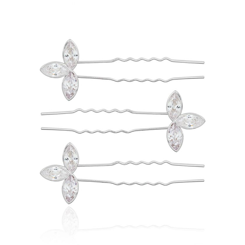 HAPPY EVER AFTER HAIR ACCESSORIES - CZ LEAF HAIR PINS