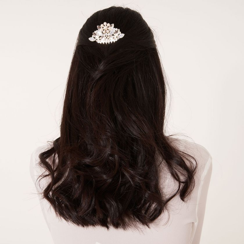 HAPPY EVER AFTER HAIR ACCESSORIES - PEARL FLOWER AND CZ HAIR COMB