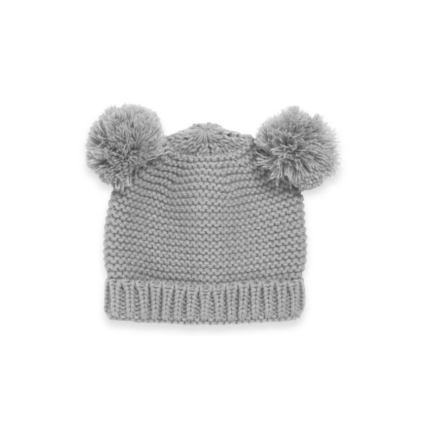 BABY HAT AND MITTENS SET - GREY