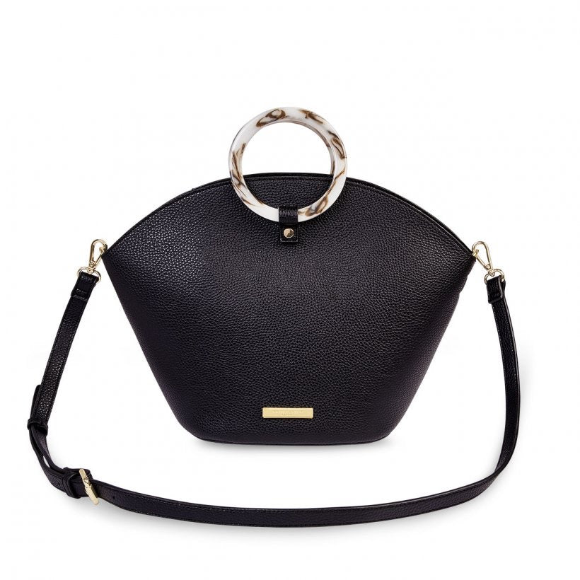 CAPRI ROUND HANDLE BAG - BLACK