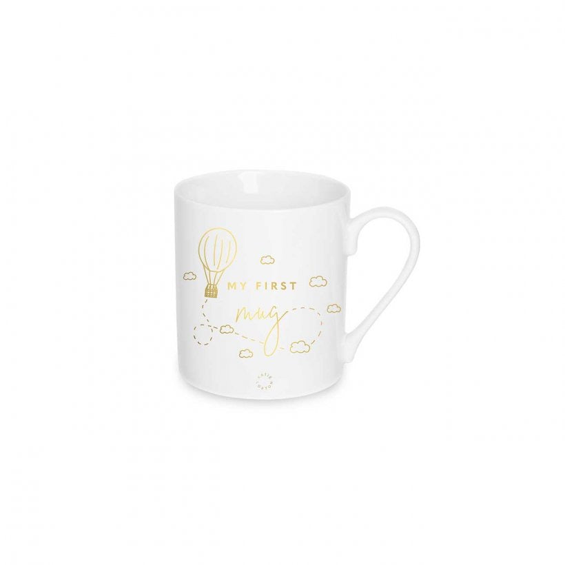 MY FIRST BABY MUG - HOT AIR BALLOON - WHITE AND GOLD