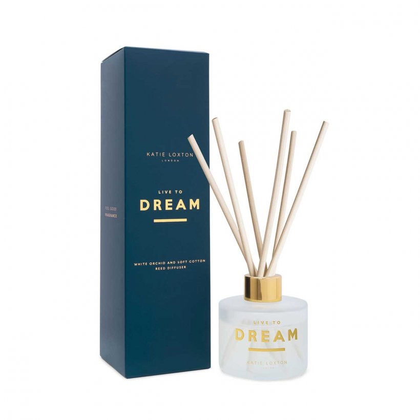 SENTIMENT REED DIFFUSER - LIVE TO DREAM - WHITE ORCHID AND SOFT COTTON