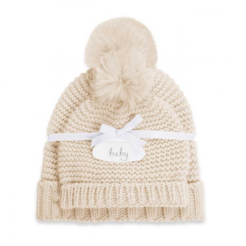 MUMMY AND BABY BOBBLE HAT SET - OATMEAL
