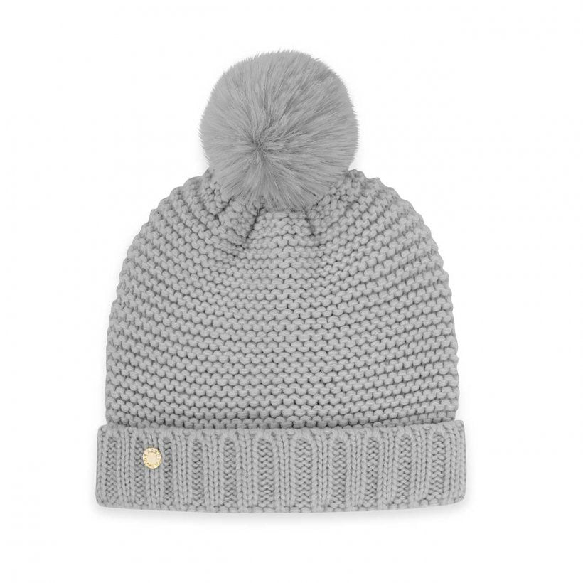MUMMY AND BABY BOBBLE HAT SET - GREY