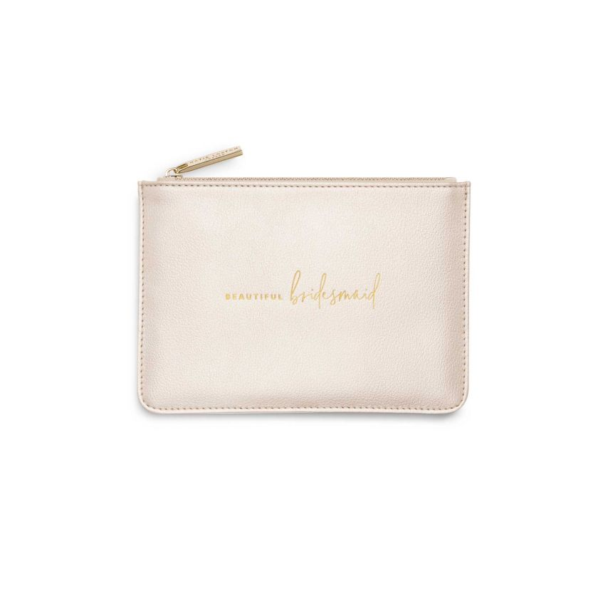 BRIDAL PERFECT POUCH GIFT SET - BEAUTIFUL BRIDESMAID - METALLIC WHITE