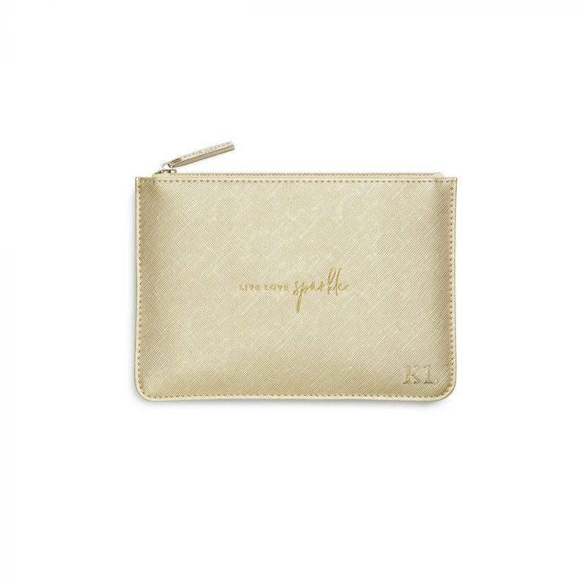 PETITE PERFECT POUCH - LIVE LOVE SPARKLE - METALLIC GOLD