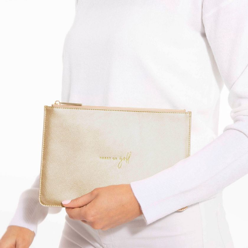 PERFECT POUCH - HEART OF GOLD - METALLIC CHAMPAGNE