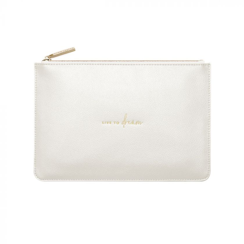 PERFECT POUCH - LIVE TO DREAM - METALLIC WHITE