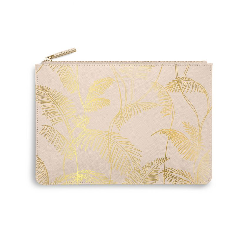 PERFECT POUCH - PALM PRINT - NUDE PINK