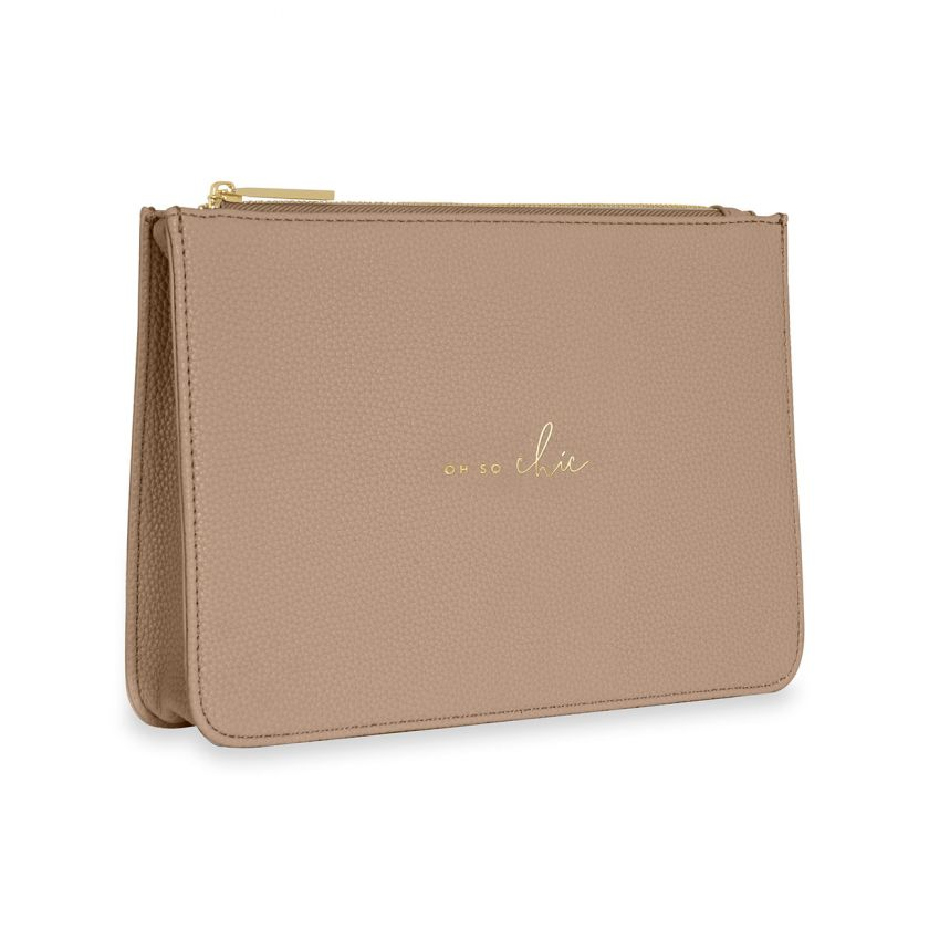STYLISH STRUCTURED POUCH - OH SO CHIC - TAUPE