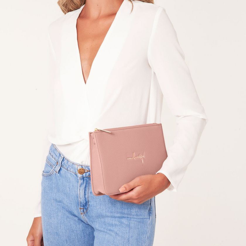 STYLISH STRUCTURED POUCH - HELLO BEAUTIFUL - PINK