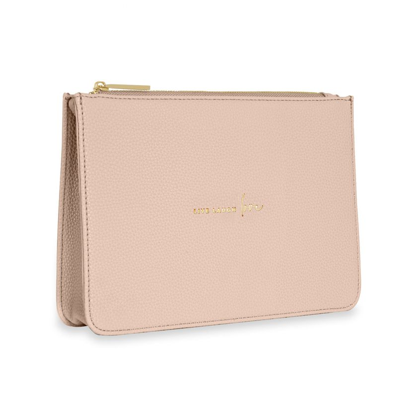 STYLISH STRUCTURED POUCH - LIVE LAUGH LOVE - NUDE PINK