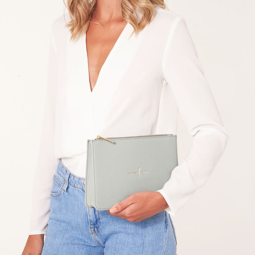 STYLISH STRUCTURED POUCH - LIVE TO DREAM - PALE GREY