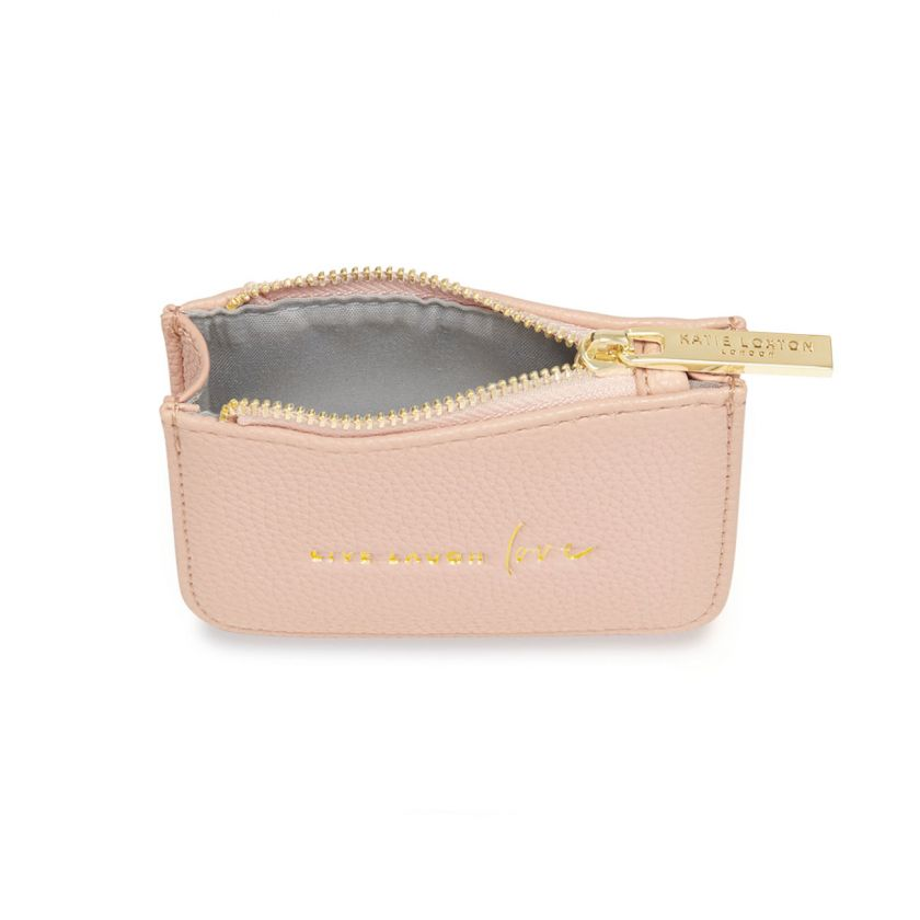 STYLISH STRUCTURED COIN PURSE - LIVE LAUGH LOVE - NUDE PINK