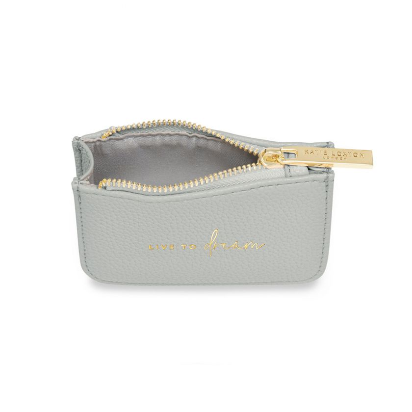 STYLISH STRUCTURED COIN PURSE - LIVE TO DREAM - PALE GREY